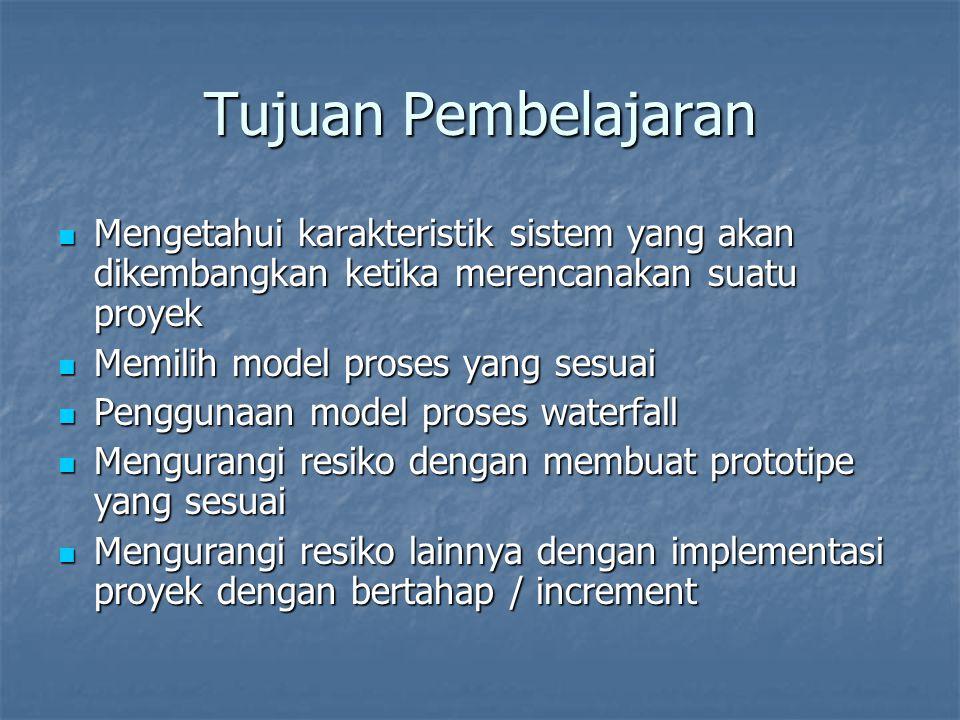 Tujuan Pembelajaran Mengetahui karakteristik sistem yang akan dikembangkan ketika merencanakan suatu proyek.