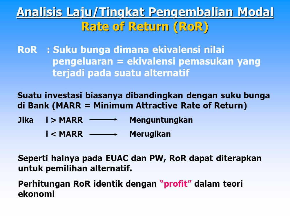 Analisis Laju/Tingkat Pengembalian Modal Rate of Return (RoR)