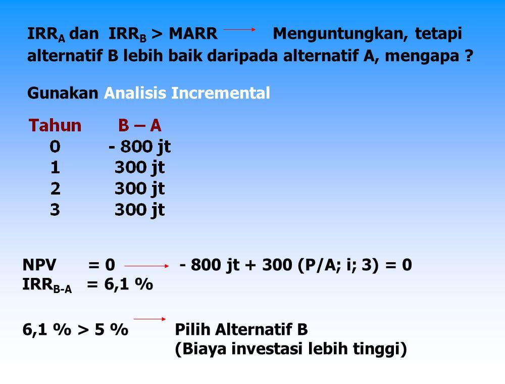 IRRA dan IRRB > MARR Menguntungkan, tetapi
