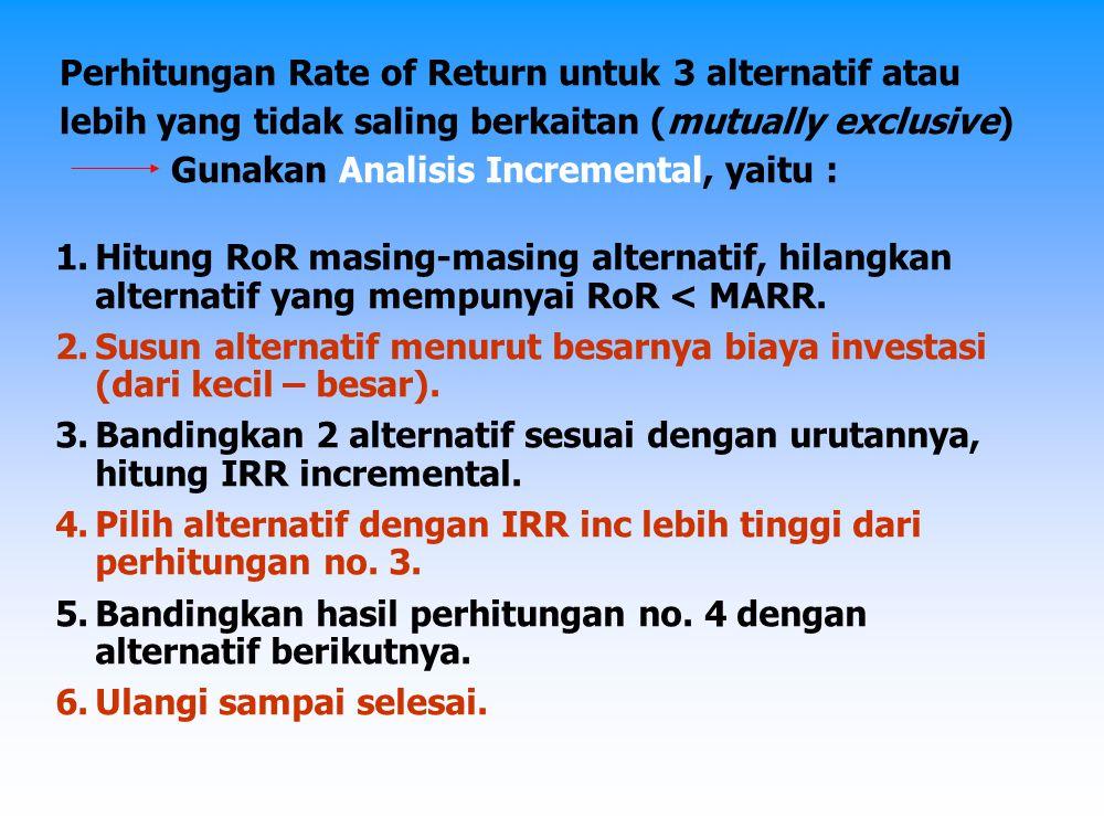 Perhitungan Rate of Return untuk 3 alternatif atau