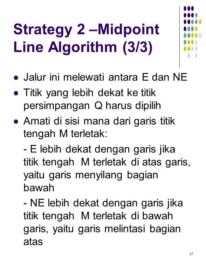 Strategy 2 –Midpoint Line Algorithm (3/3)