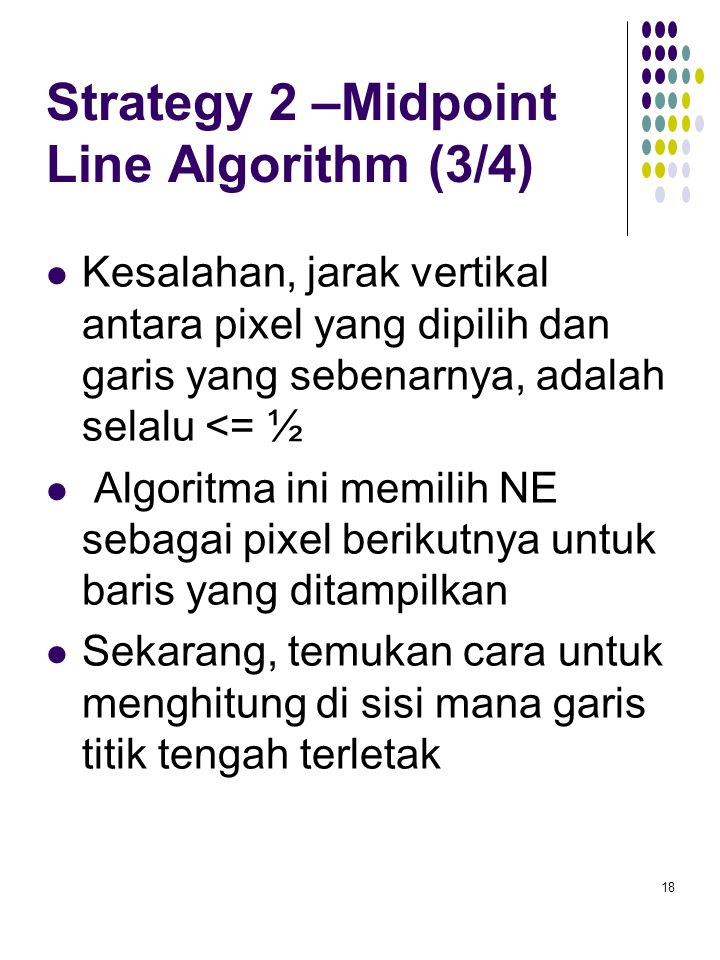 Strategy 2 –Midpoint Line Algorithm (3/4)
