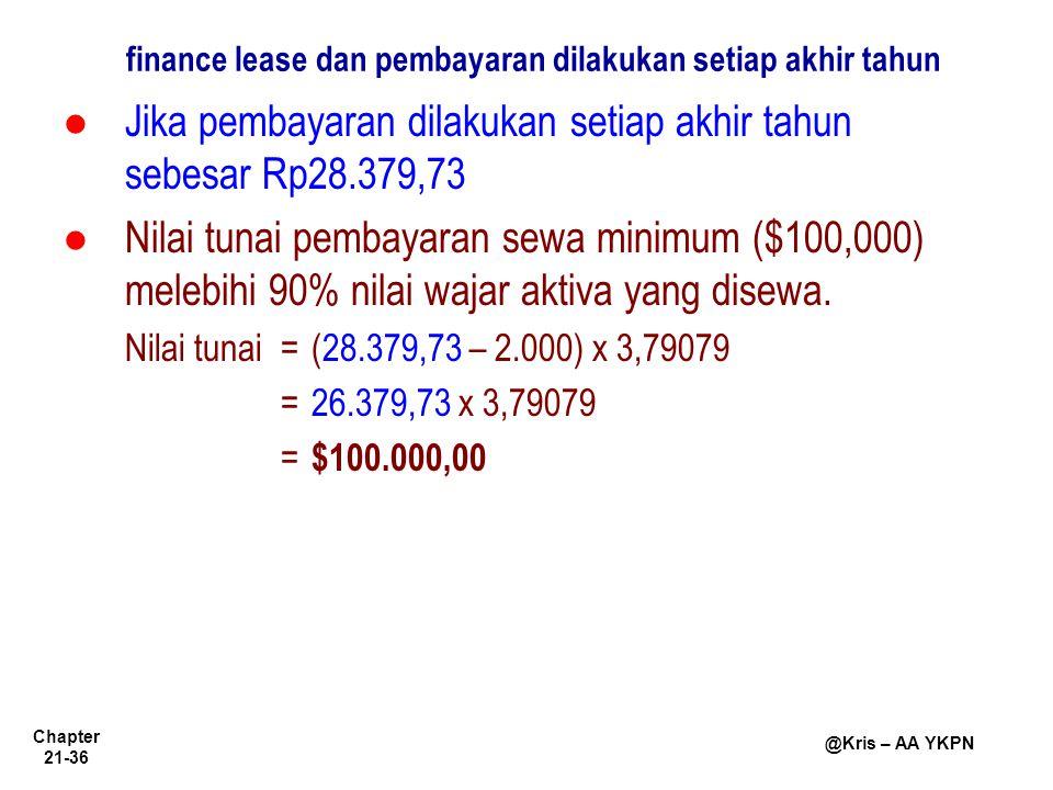 finance lease dan pembayaran dilakukan setiap akhir tahun