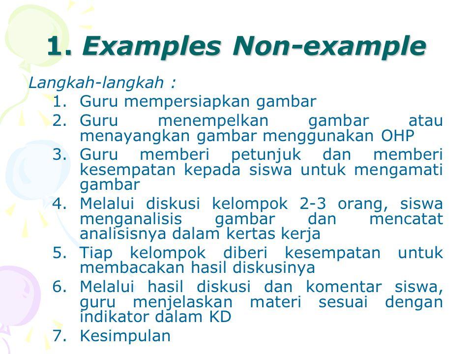 1. Examples Non-example Langkah-langkah : Guru mempersiapkan gambar