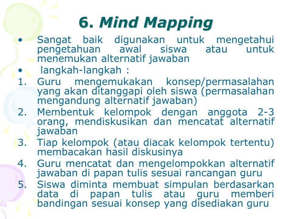 6. Mind Mapping Sangat baik digunakan untuk mengetahui pengetahuan awal siswa atau untuk menemukan alternatif jawaban.