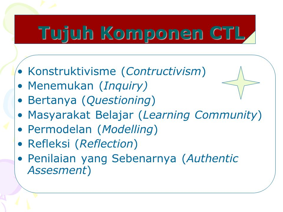 Tujuh Komponen CTL Konstruktivisme (Contructivism) Menemukan (Inquiry)