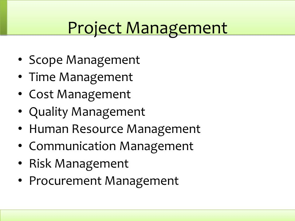 Project Management Scope Management Time Management Cost Management