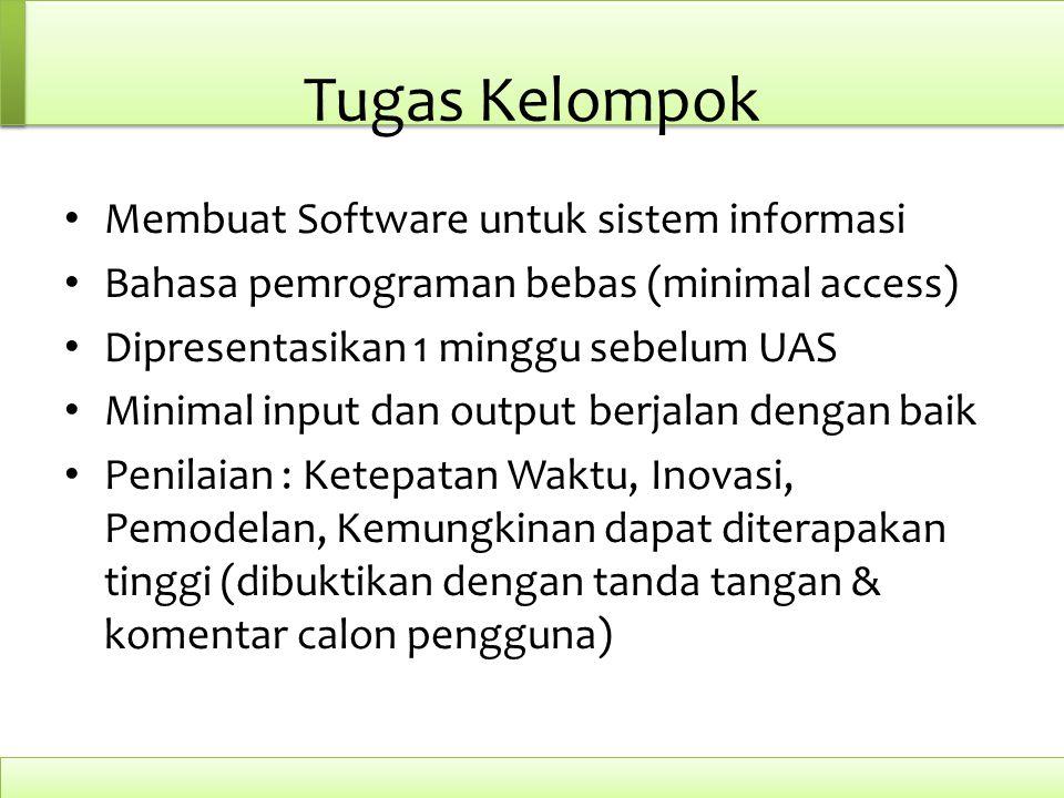 Tugas Kelompok Membuat Software untuk sistem informasi