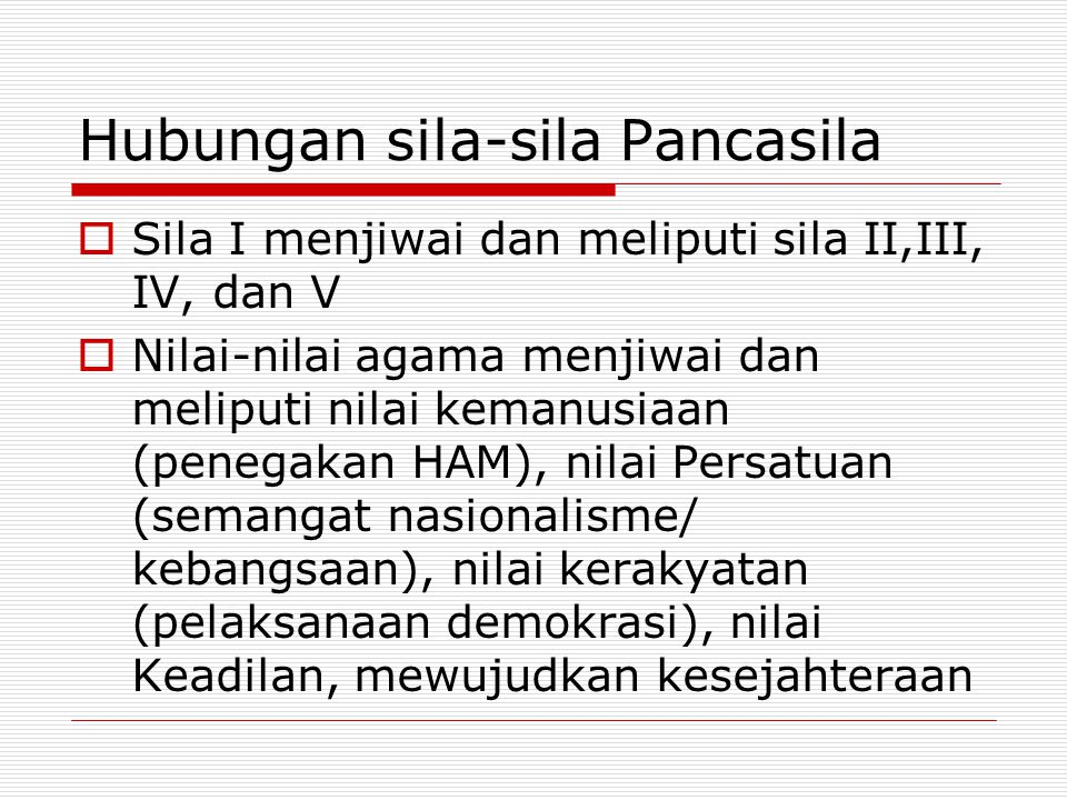 Hubungan sila-sila Pancasila