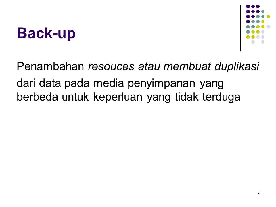 Back-up Penambahan resouces atau membuat duplikasi dari data pada media penyimpanan yang berbeda untuk keperluan yang tidak terduga