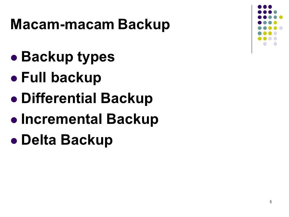 Macam-macam Backup Backup types Full backup Differential Backup Incremental Backup Delta Backup