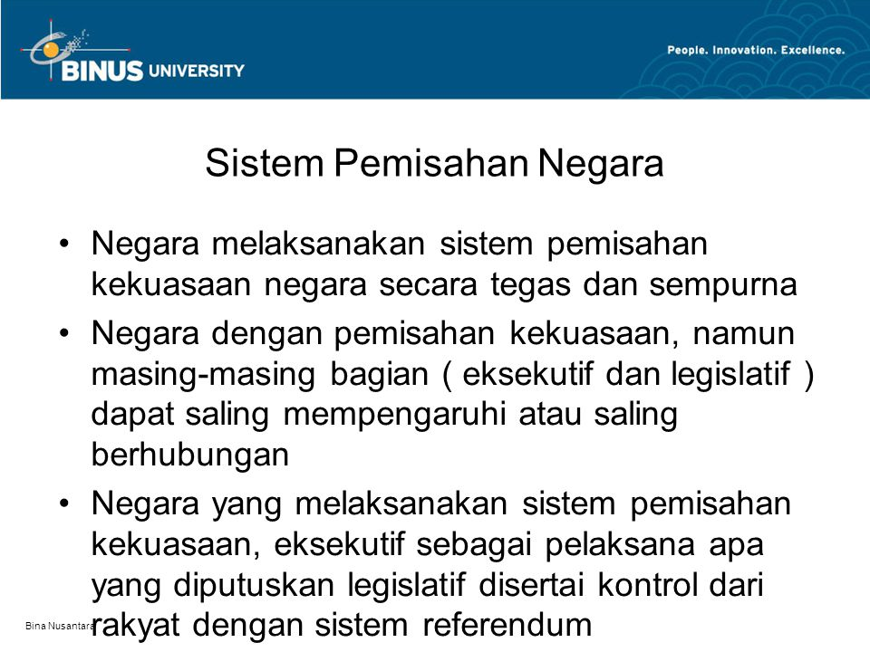 Sistem Pemisahan Negara
