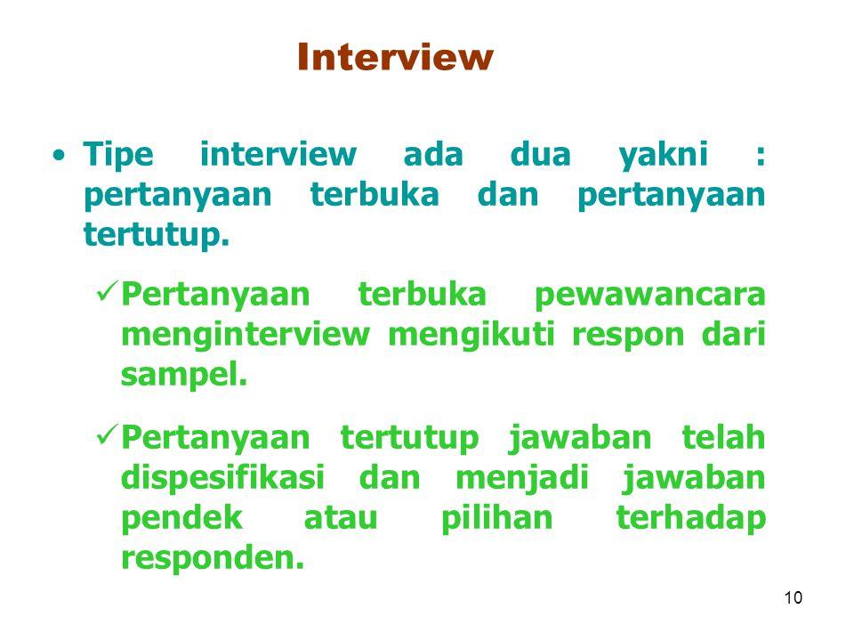 Interview Tipe interview ada dua yakni : pertanyaan terbuka dan pertanyaan tertutup.