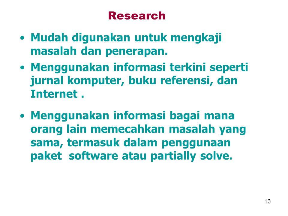 Research Mudah digunakan untuk mengkaji masalah dan penerapan. Menggunakan informasi terkini seperti jurnal komputer, buku referensi, dan Internet .