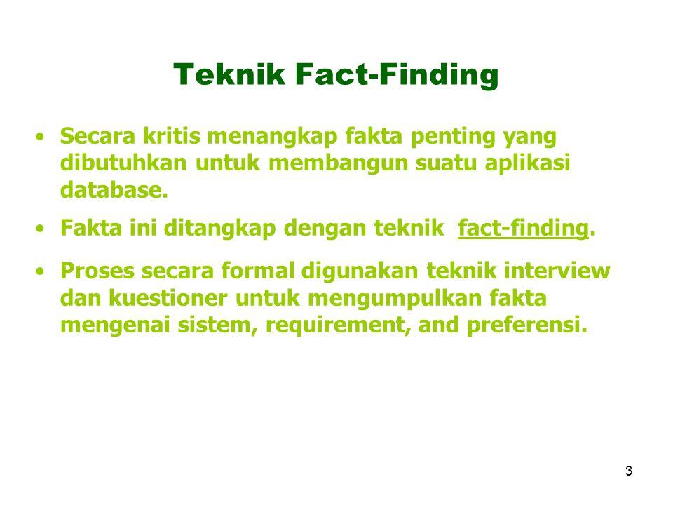 Teknik Fact-Finding Secara kritis menangkap fakta penting yang dibutuhkan untuk membangun suatu aplikasi database.