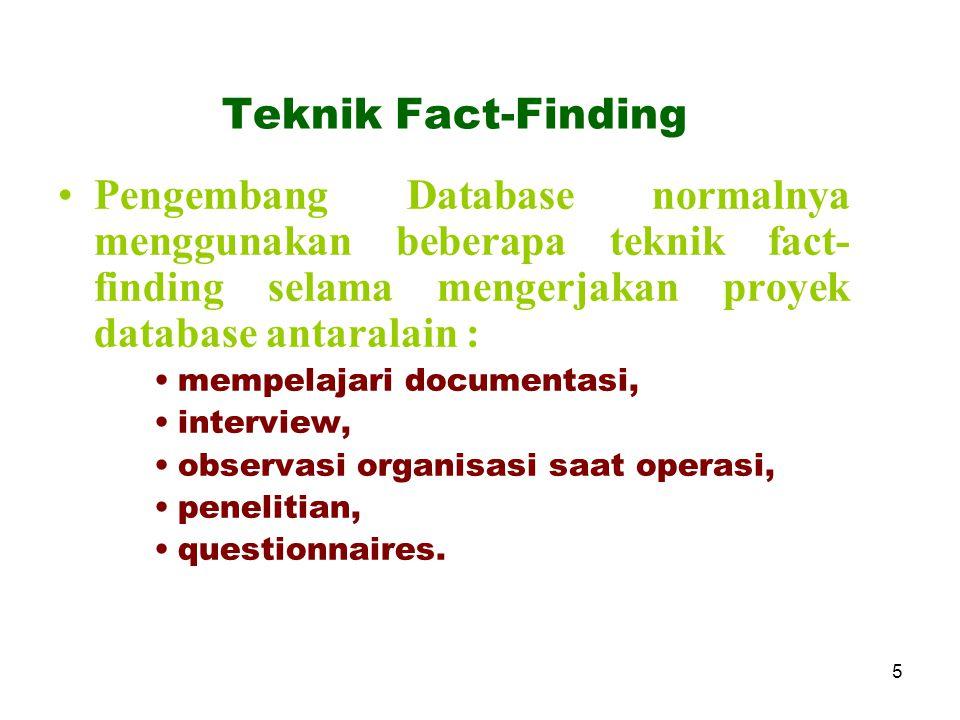 Teknik Fact-Finding Pengembang Database normalnya menggunakan beberapa teknik fact-finding selama mengerjakan proyek database antaralain :