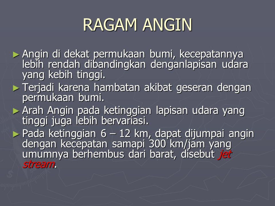 RAGAM ANGIN Angin di dekat permukaan bumi, kecepatannya lebih rendah dibandingkan denganlapisan udara yang kebih tinggi.