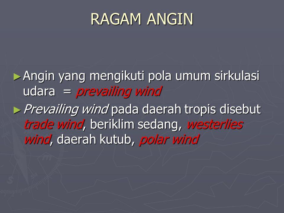 RAGAM ANGIN Angin yang mengikuti pola umum sirkulasi udara = prevailing wind.