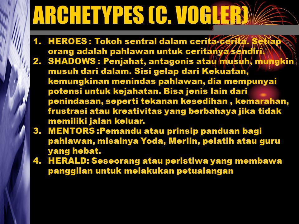 ARCHETYPES (C. VOGLER) HEROES : Tokoh sentral dalam cerita-cerita. Setiap orang adalah pahlawan untuk ceritanya sendiri.