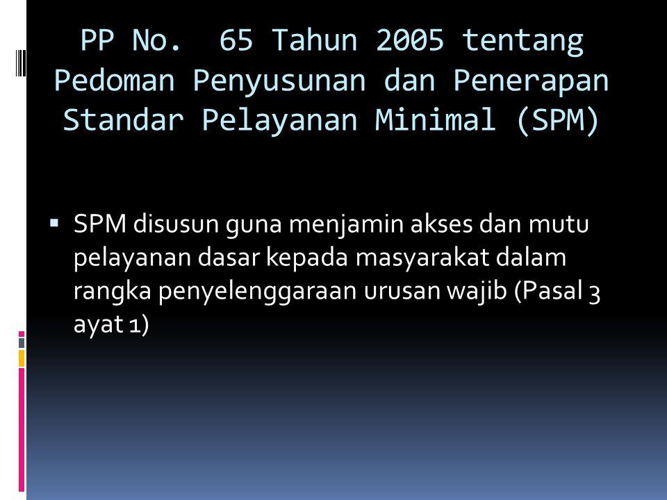 PP No. 65 Tahun 2005 tentang Pedoman Penyusunan dan Penerapan Standar Pelayanan Minimal (SPM)