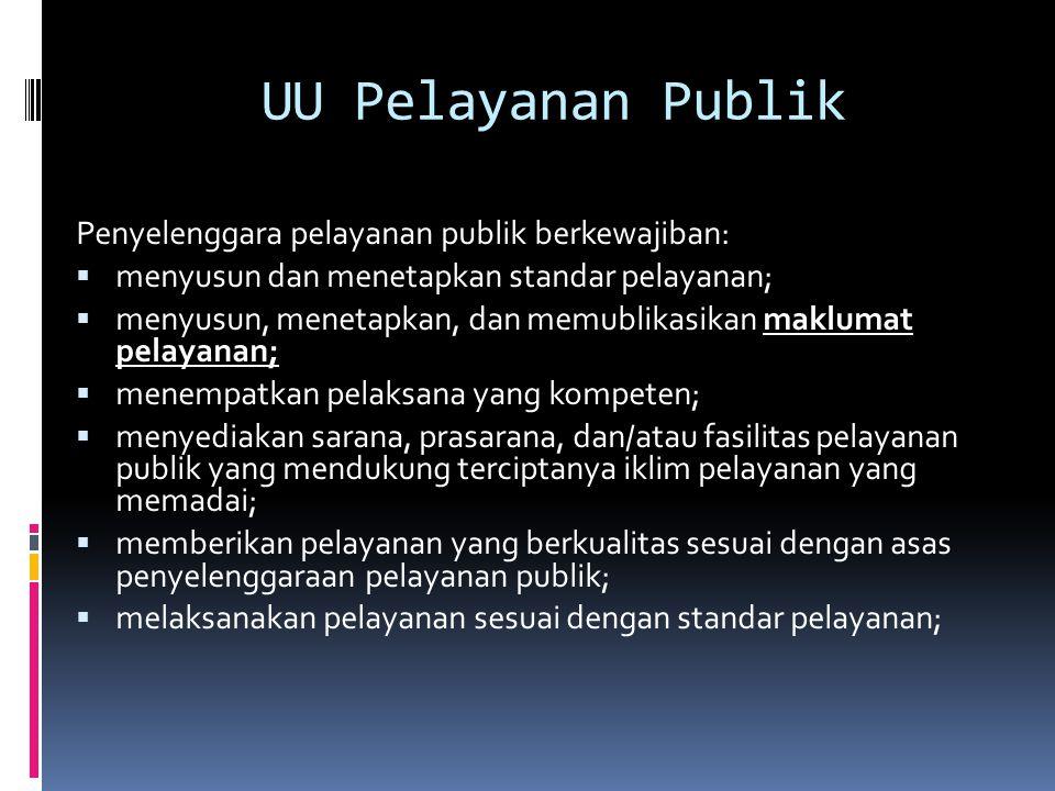 UU Pelayanan Publik Penyelenggara pelayanan publik berkewajiban: