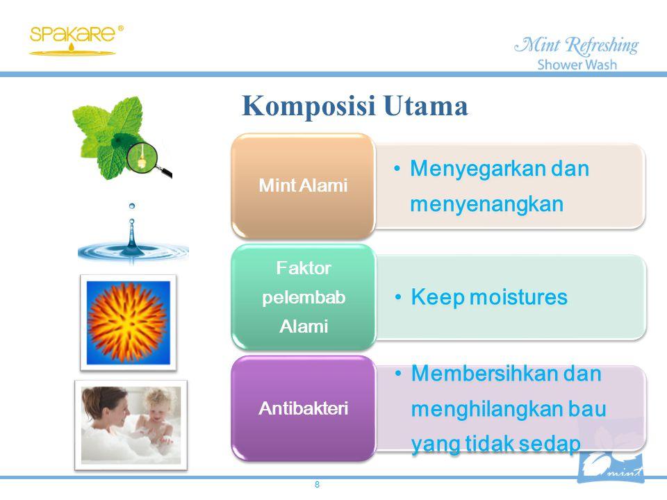 Komposisi Utama Menyegarkan dan menyenangkan Keep moistures