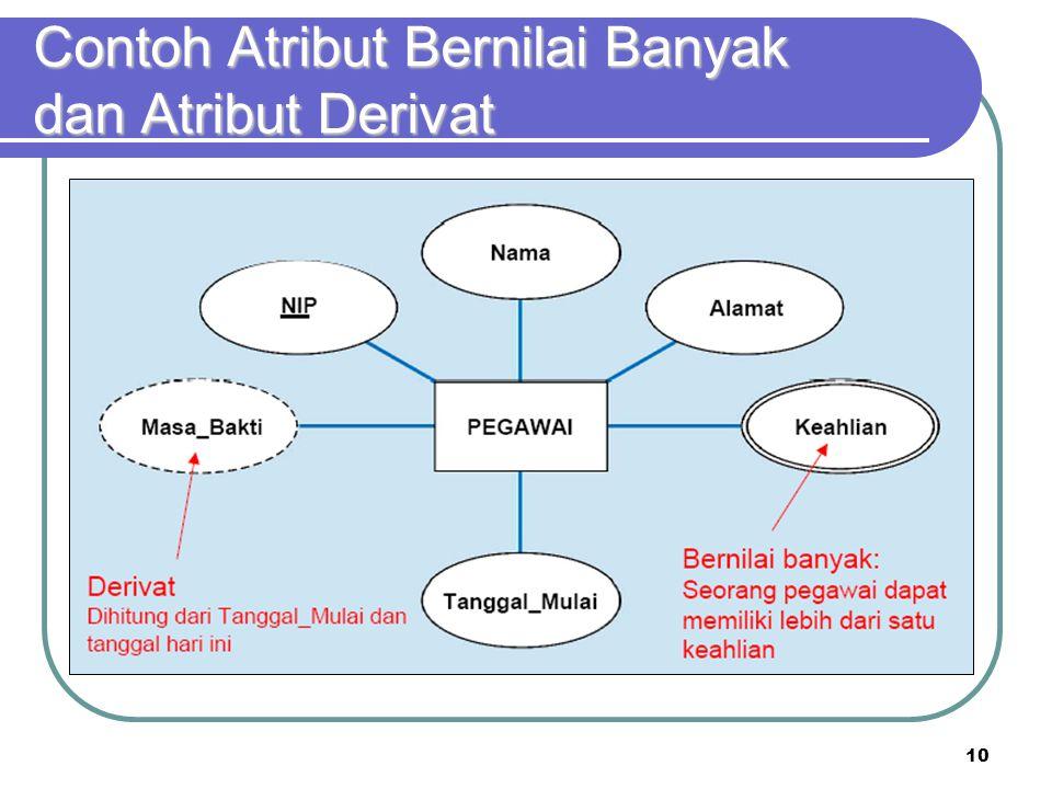 Contoh Atribut Bernilai Banyak dan Atribut Derivat