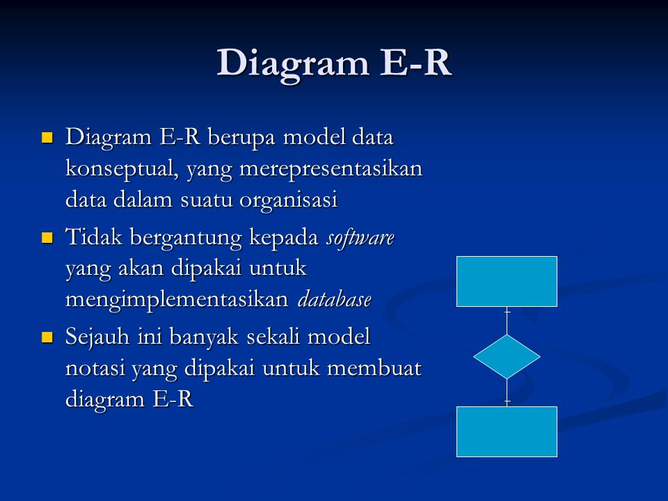 Diagram E-R Diagram E-R berupa model data konseptual, yang merepresentasikan data dalam suatu organisasi.