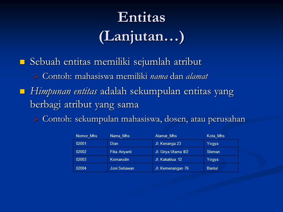 Entitas (Lanjutan…) Sebuah entitas memiliki sejumlah atribut