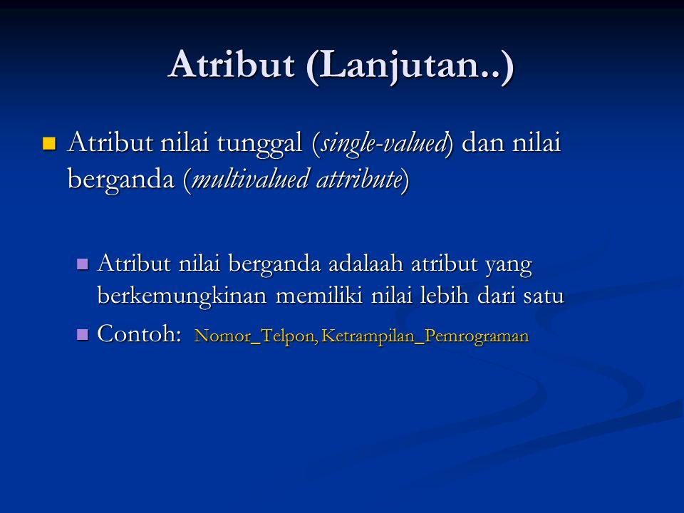 Atribut (Lanjutan..) Atribut nilai tunggal (single-valued) dan nilai berganda (multivalued attribute)
