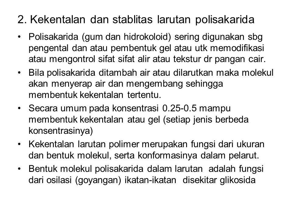 2. Kekentalan dan stablitas larutan polisakarida