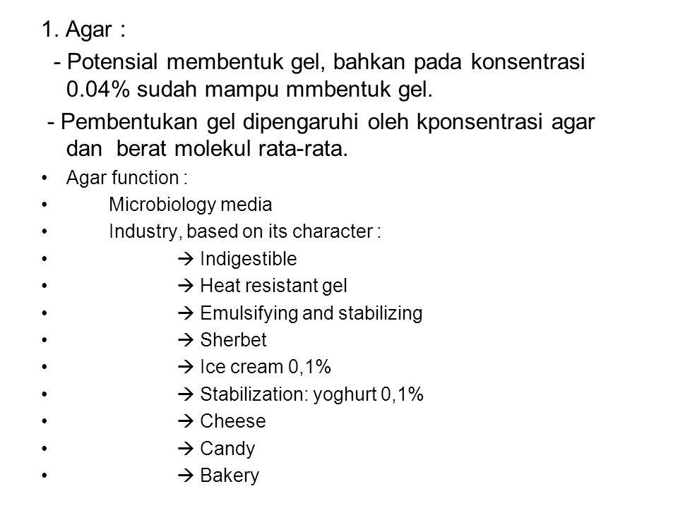 1. Agar : - Potensial membentuk gel, bahkan pada konsentrasi 0.04% sudah mampu mmbentuk gel.
