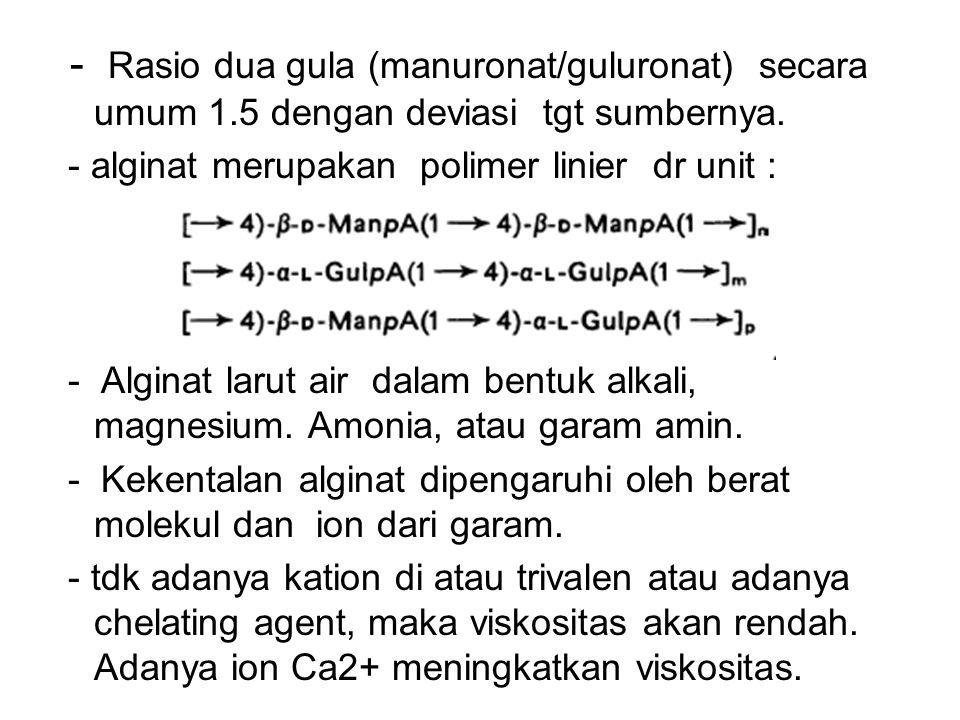 - Rasio dua gula (manuronat/guluronat) secara umum 1