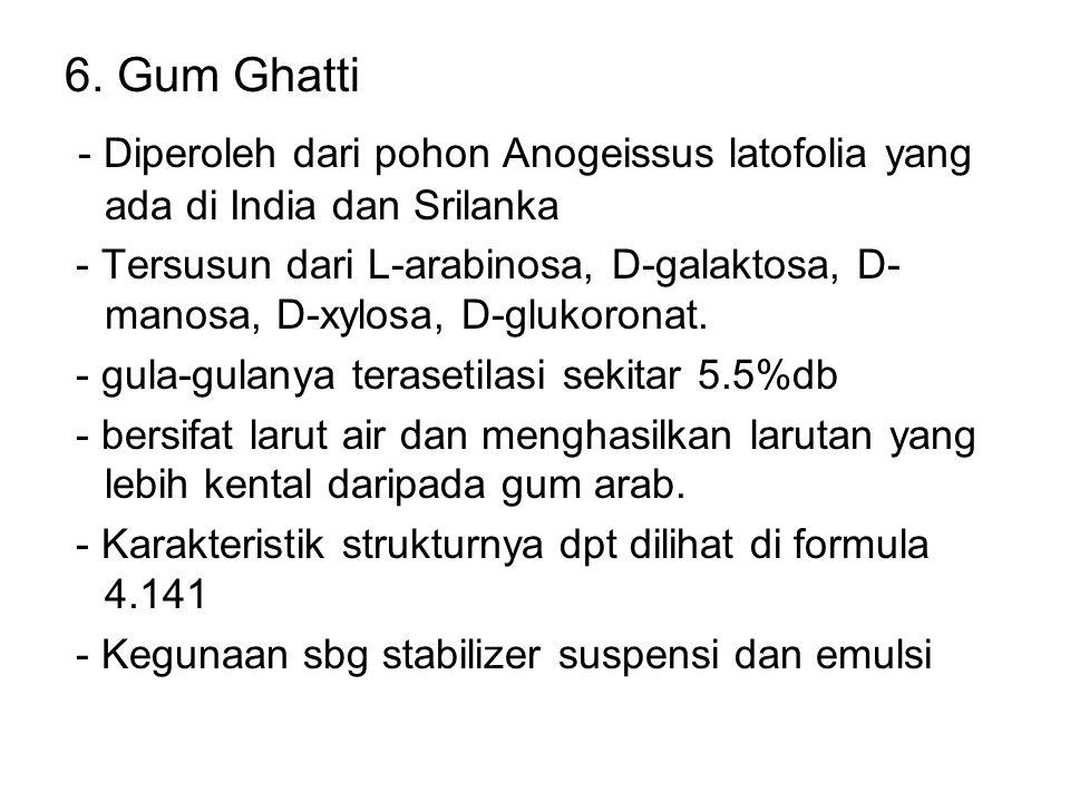 6. Gum Ghatti - Diperoleh dari pohon Anogeissus latofolia yang ada di India dan Srilanka.