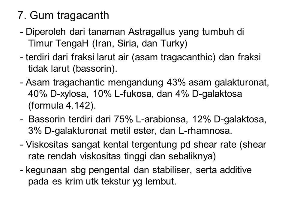 7. Gum tragacanth - Diperoleh dari tanaman Astragallus yang tumbuh di Timur TengaH (Iran, Siria, dan Turky)