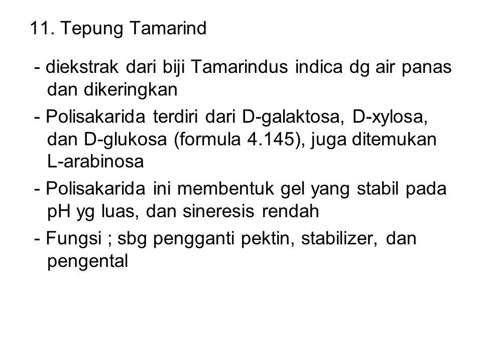 11. Tepung Tamarind - diekstrak dari biji Tamarindus indica dg air panas dan dikeringkan.