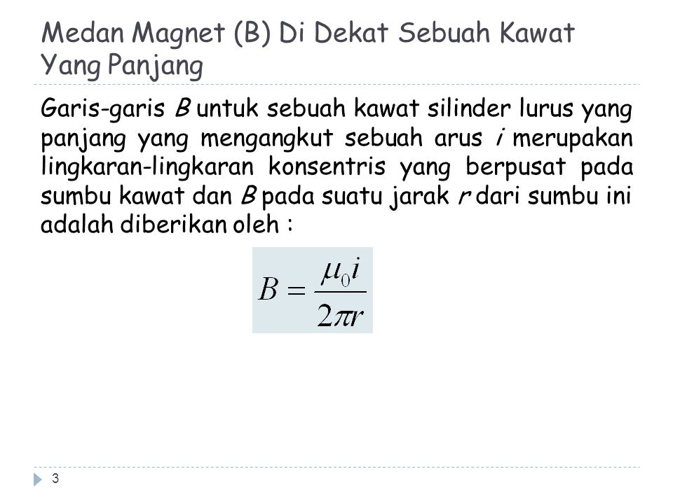 Medan Magnet (B) Di Dekat Sebuah Kawat Yang Panjang