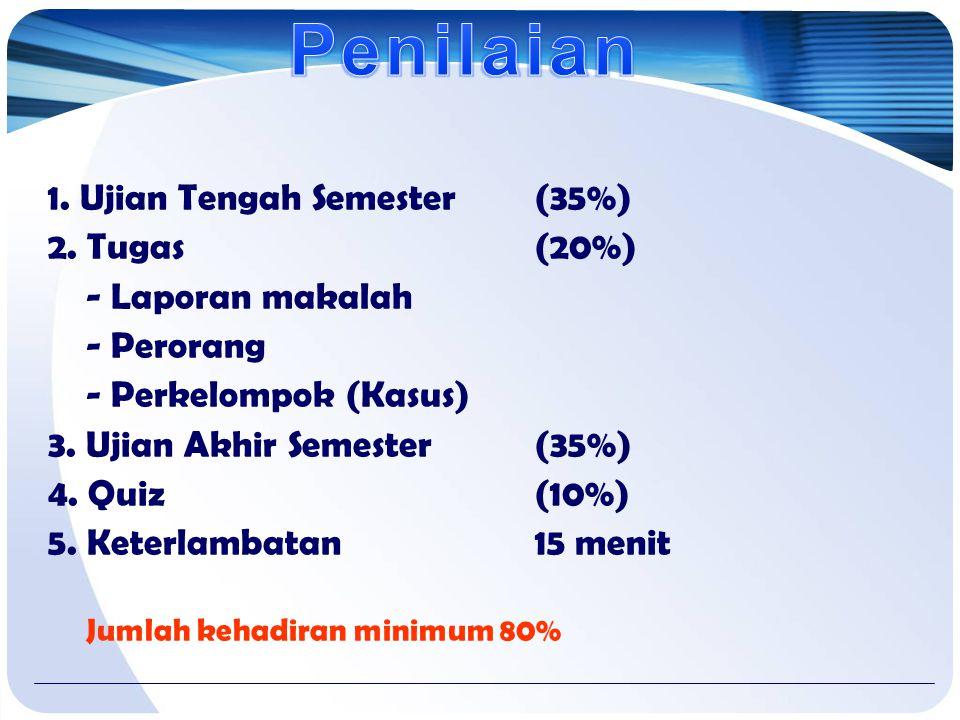Penilaian 1. Ujian Tengah Semester (35%) 2. Tugas (20%)