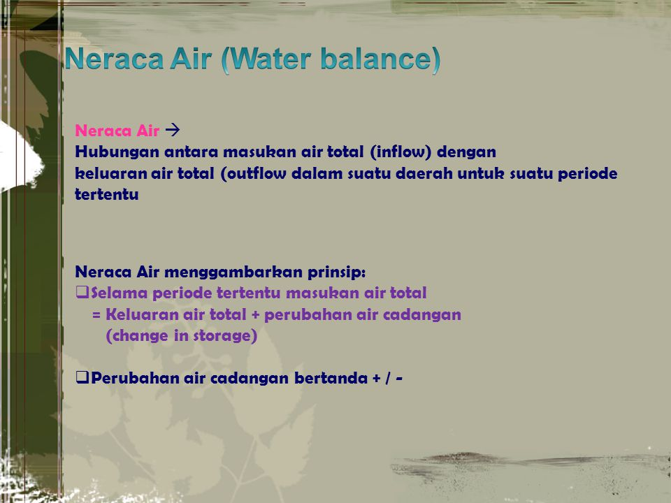 Neraca Air (Water balance)