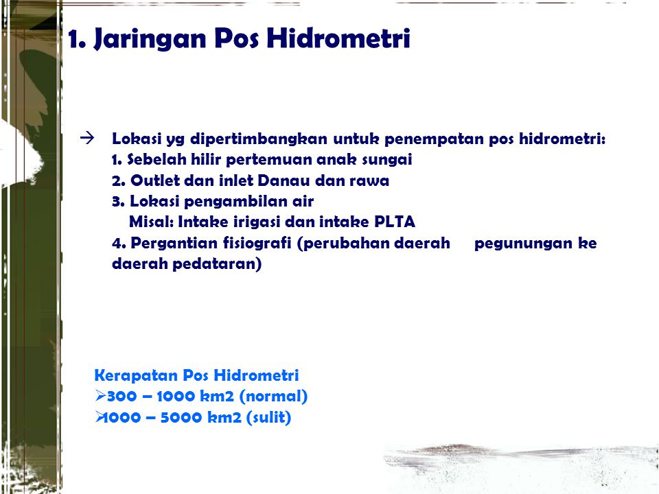 1. Jaringan Pos Hidrometri