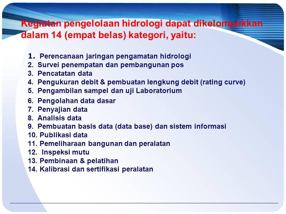 Kegiatan pengelolaan hidrologi dapat dikelompokkan dalam 14 (empat belas) kategori, yaitu: