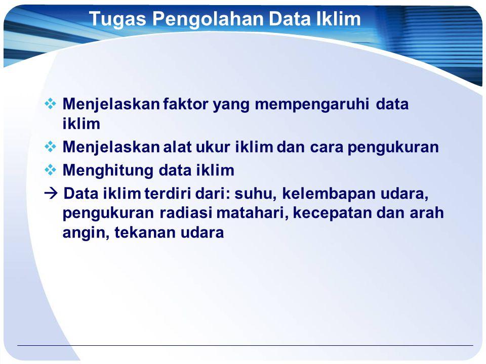 Tugas Pengolahan Data Iklim