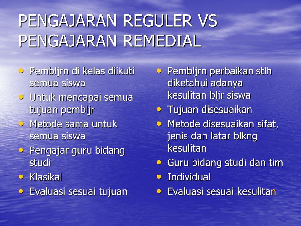 PENGAJARAN REGULER VS PENGAJARAN REMEDIAL