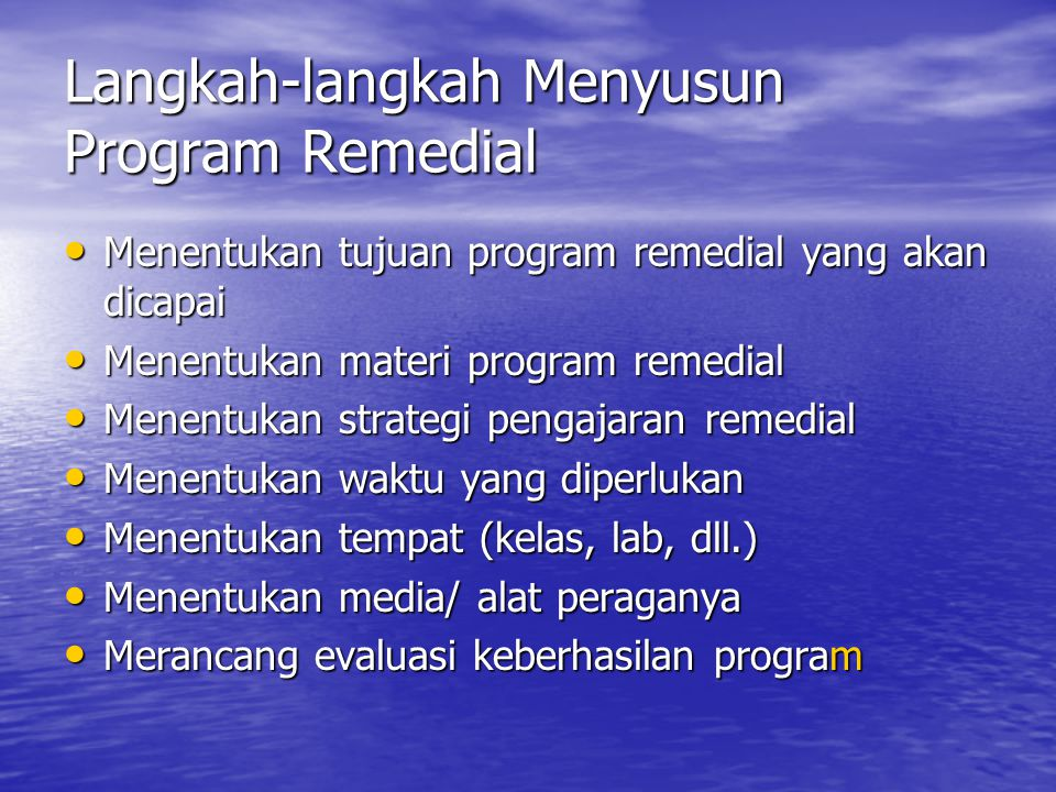 Langkah-langkah Menyusun Program Remedial