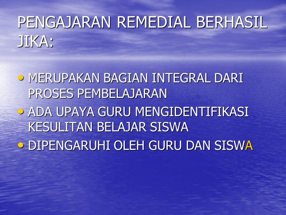 PENGAJARAN REMEDIAL BERHASIL JIKA: