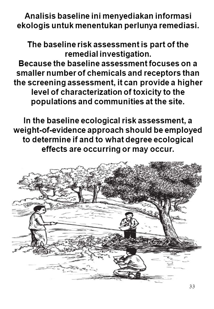 The baseline risk assessment is part of the remedial investigation.