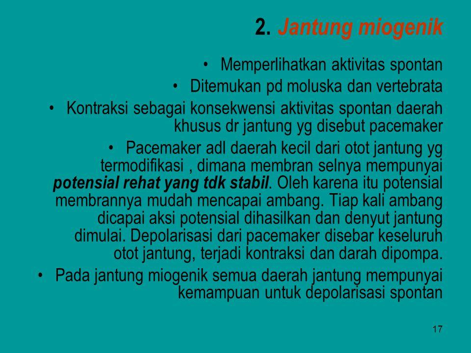 2. Jantung miogenik Memperlihatkan aktivitas spontan