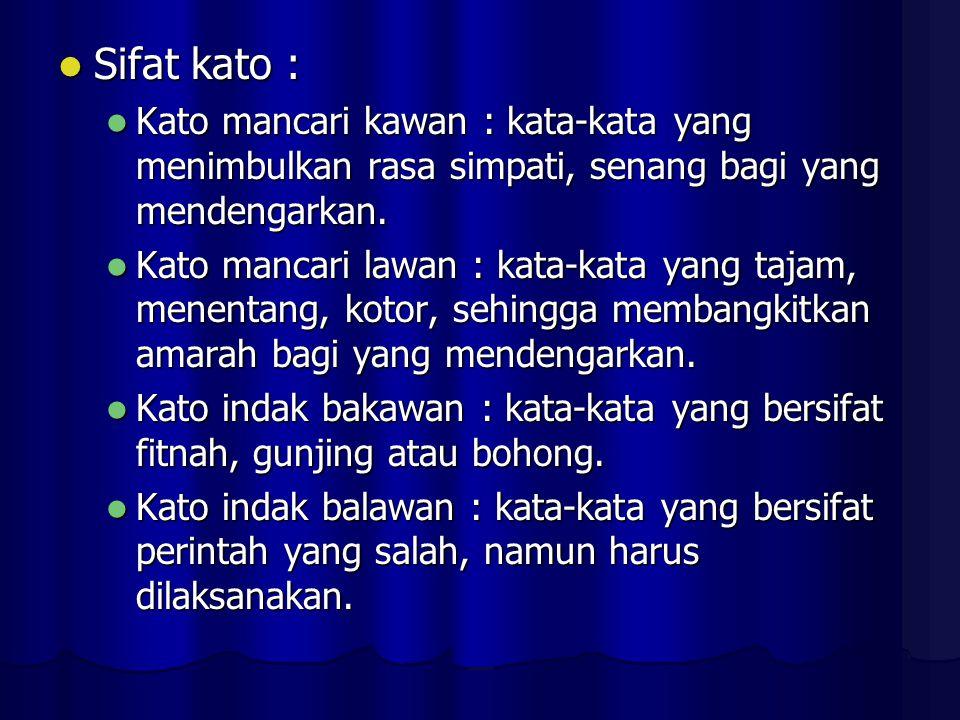 Sifat kato : Kato mancari kawan : kata-kata yang menimbulkan rasa simpati, senang bagi yang mendengarkan.