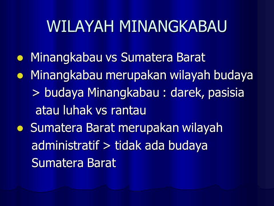 WILAYAH MINANGKABAU Minangkabau vs Sumatera Barat