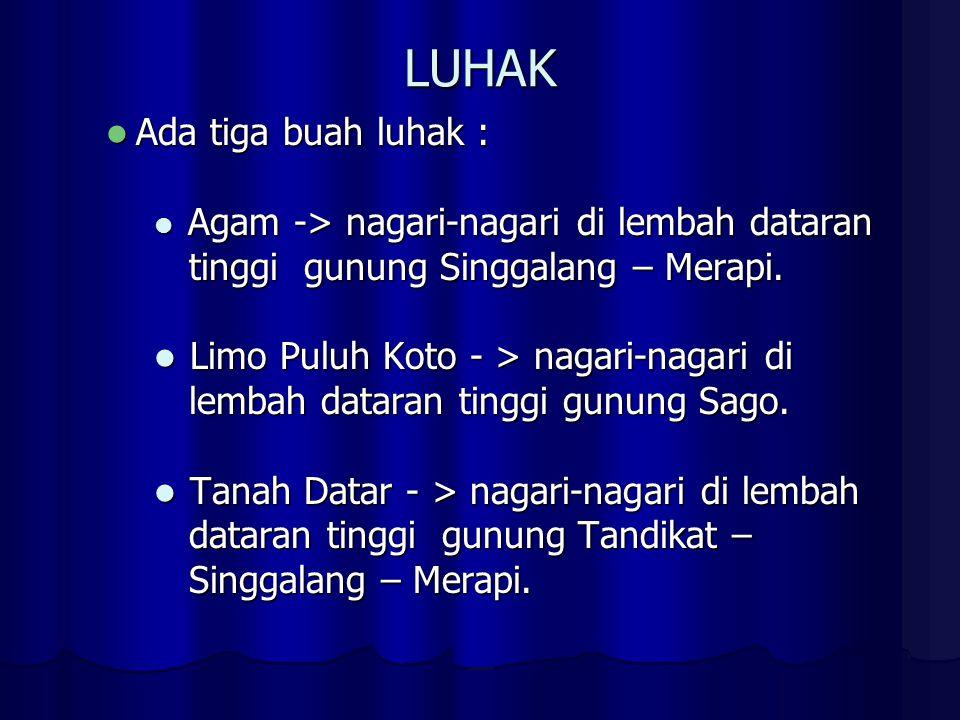 LUHAK Ada tiga buah luhak : tinggi gunung Singgalang – Merapi.